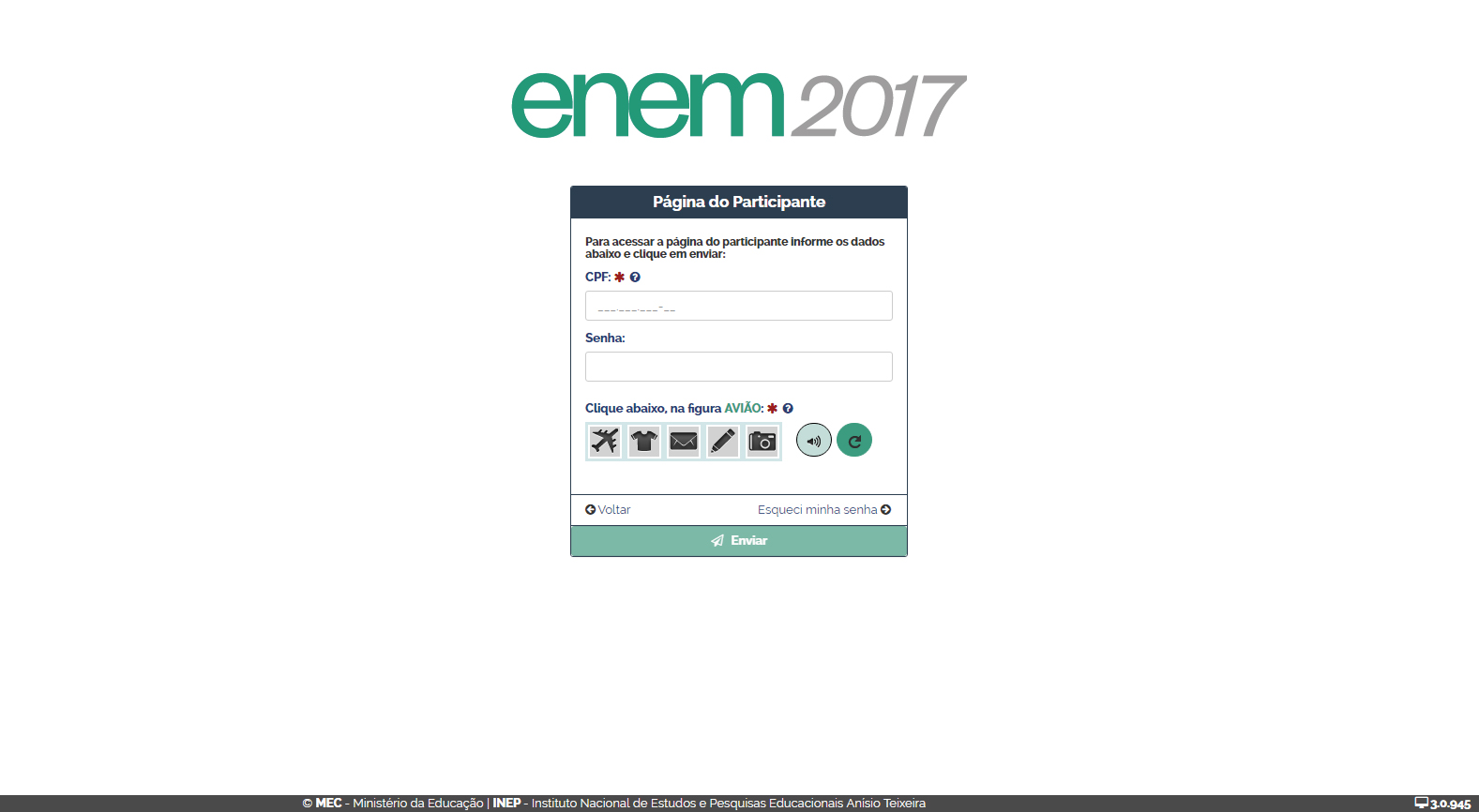 Página do participante - Enem 2017